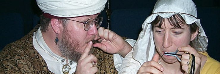 Teaching (then) Lady Gwendolen how not to chip her teeth with a jew's harp